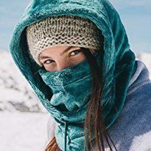 BURTON Cora Teal Ski Helmet Faux Fleece Hood Hat
